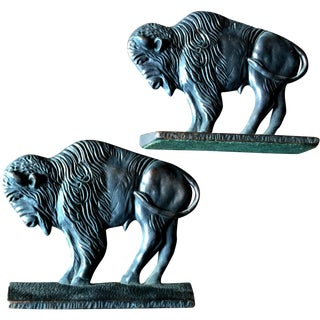 Western Buffalo Bookends from 1920's Verona