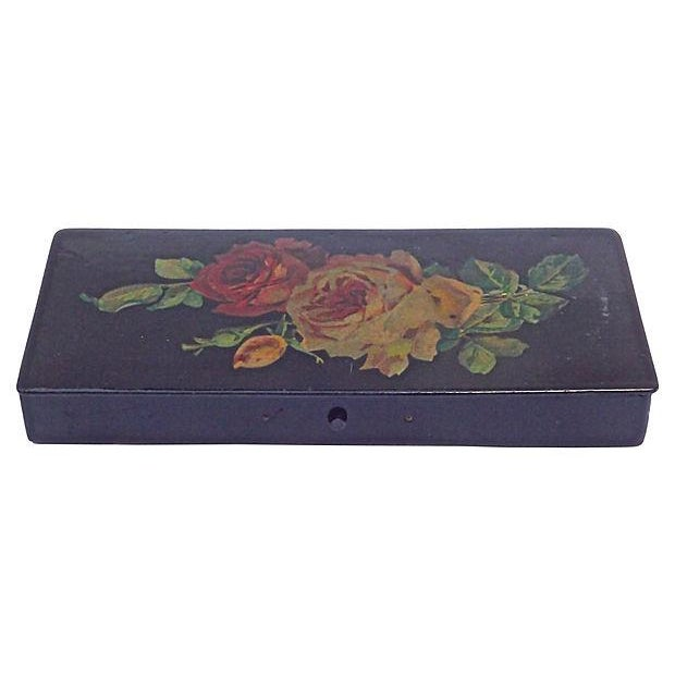 Antique Papier-Mâché Rose Pencil Box - Image 2 of 4