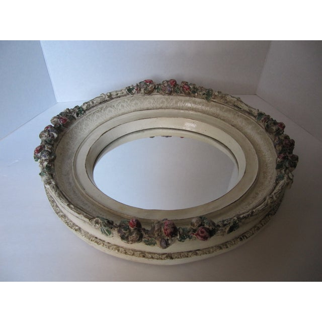 Oval Distressed Flower Mirror - Image 5 of 8