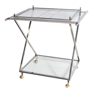 Mid-Century Modern Nickel Plated Two Tier Bar Cart