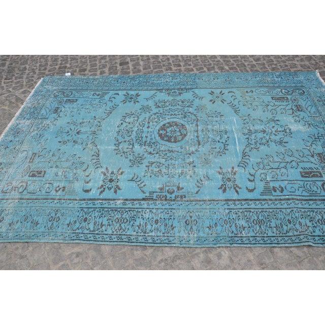 """Turkish Oushak Turquoise Rug - 6' x 8'9"""" - Image 5 of 6"""
