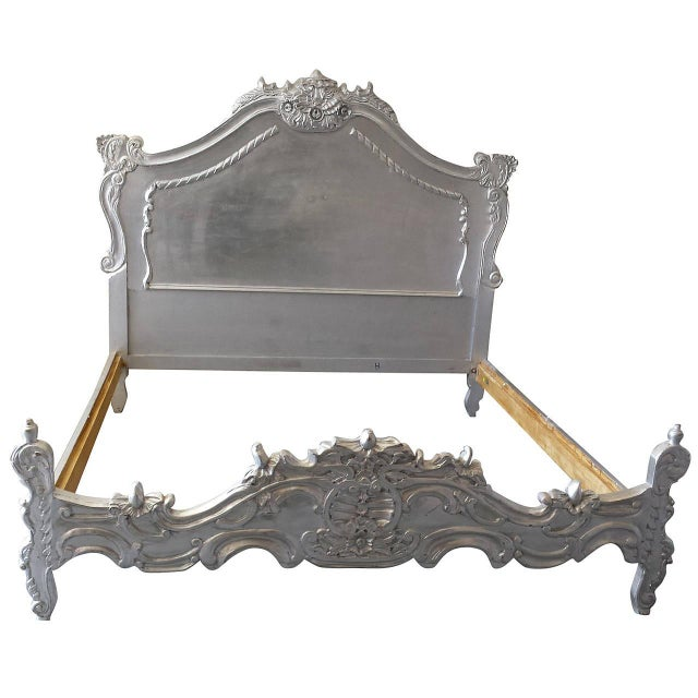 Image of French Louis XV Style King Bed, Silver Leaf Finish