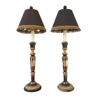 Frederick Cooper Brass Columnar Table Lamps- A Pair