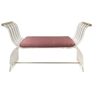 Hollywood Regency Lucite Curule Bench in the Manner of Charles Hollis Jones