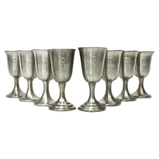 "Pewter Goblets with ""B"" Monogram - Set of 8"