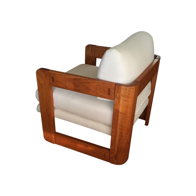 Vintage Wood and Linen Armchair - Image 1 of 11