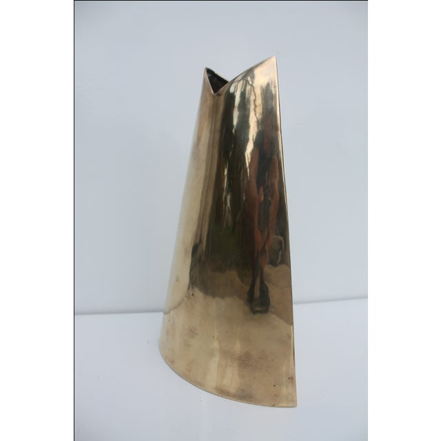 Geometric Brass Vase by J. Johnston - Image 3 of 7