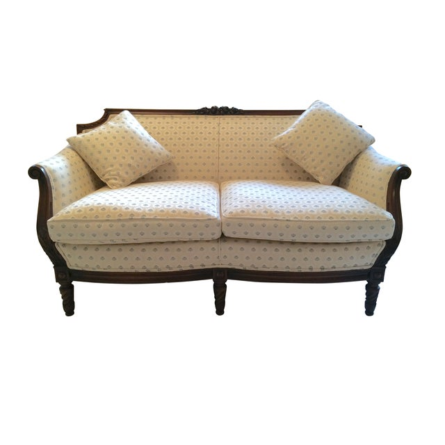 Vintage Carved Cream & Blue Satin Settee - Image 1 of 7