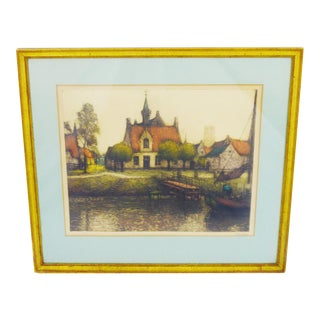 Early 20th Century European Village Scene Limited Edition Signed Lithograph