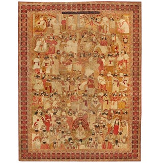 Extremely Fine 19th Century Persian Lavar Leaders of the World Carpet