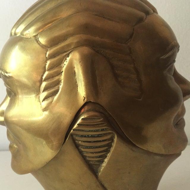 2 Faced Lidded Brass Figure - Image 9 of 11
