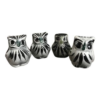 Vintage Mexican Tonala Pottery Owls - Set of 4