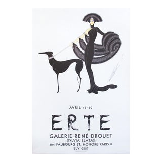 1968 Erte Exhibition Poster, Woman and Dog