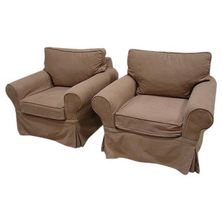 Pottery Barn Canvas Slip Cover Club Chair - Pair