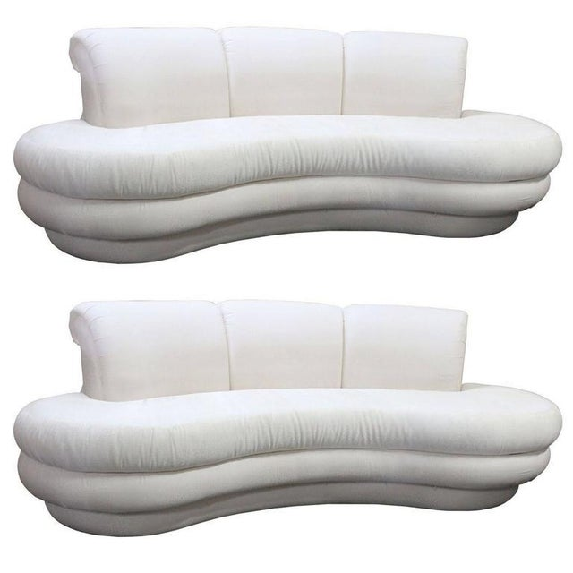 Vintage Adrian Pearsall Kidney Cloud Curved Sofas - Pair Available - Image 8 of 8