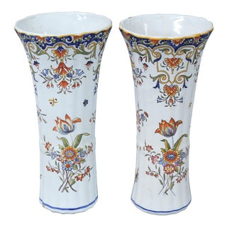 Antique French Faience Rouen Vases - A Pair