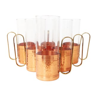 Glass Mugs in Copper Holders- Set of 6