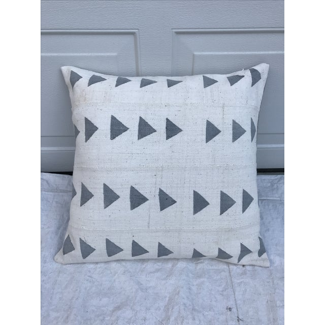 Grey & White Arrow Mud Cloth Textile Pillow - Image 2 of 6