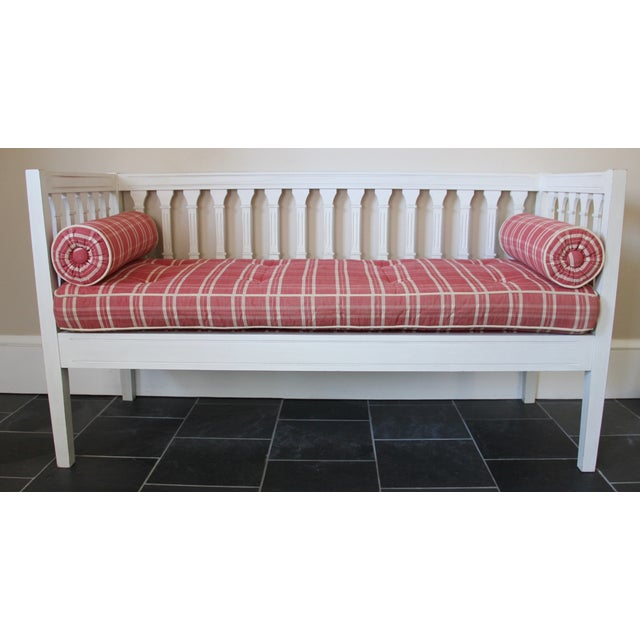 Image of Country Swedish Painted Fir Wood Upholstered Bench