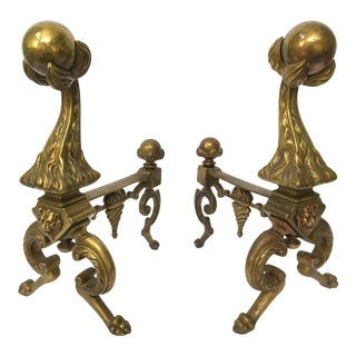 Solid Brass Lion Head Fire Ball Andirons - A Pair