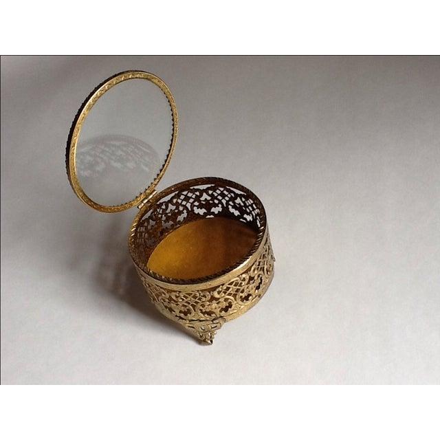 Vintage Gold Filigree Ornate Jewelry Box - Image 4 of 5