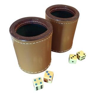 Vintage Dice Cups with 4 Bakelite Dice (#3) - Pair