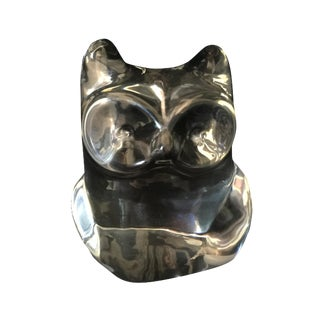 Orrefors Clear Crystal Owl Paperweight