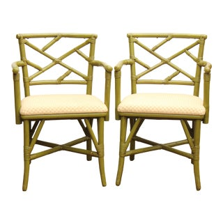 Chippendale Style Faux Bamboo Armchairs - A Pair