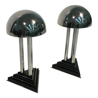 Spectacular Art Deco Modernist Pair of Chrome And Bakelite Lamps Attributed to Donald Deskey
