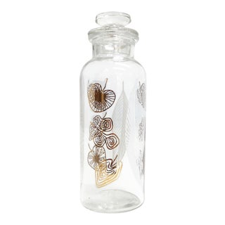 Vintage Glass Topped Canister with Gold Leaf Motif
