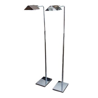 Koch & Lowy Chrome Adjustable Floor Lamps - a Pair