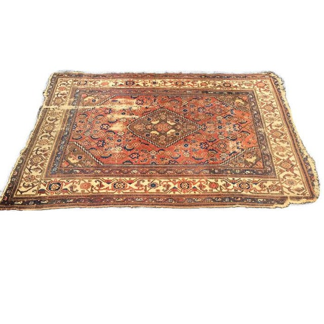 Antique Distressed Persian Rug / Wall Hanging - 4′4″ × 6′2″ - Image 5 of 10