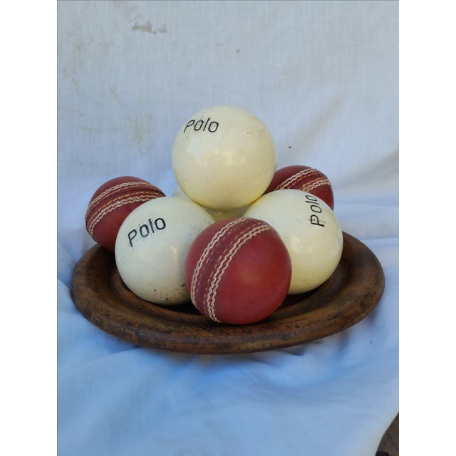 Victorian Wood Bowl With Cricket and Polo Balls - Image 2 of 5