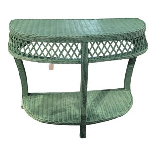 Turquoise Wicker Console