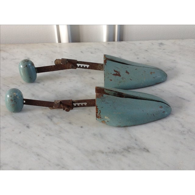 Blue Wooden Shoe Molds - A Pair - Image 4 of 5