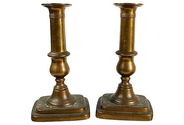Image of Antique Brass Candlesticks - A Pair