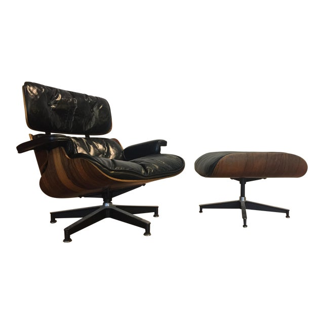 Eames Leather Lounge Chair Ottoman For Herman Miller