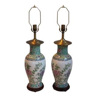 Antique Chinese Porcelain Vase Lamps - A Pair