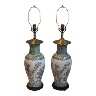 Antique Chinese Porcelain Vase Lamps - A Pair