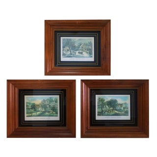 """Currier and Ives Seasons Prints: """"Winter"""", """"Spring"""", """"Autumn"""" - Set of Three"""