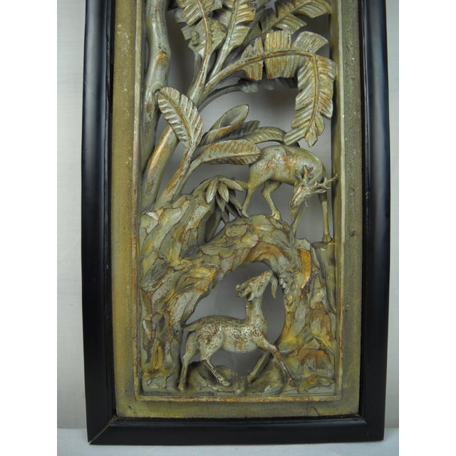 Asian Carved Wood Panels - A Pair - Image 5 of 8