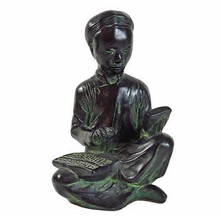 1960s Green Asian Scholar Figure/Bookend