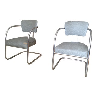 Mid-Century Chrome Cantilever Lounge Chairs - Pair
