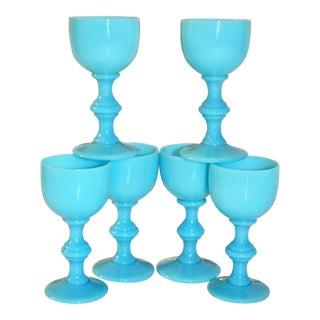 Blue Opaline Portieux Vallerysthal Liqueur Glasses - Set of 6