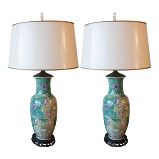 Mid-Century Hand-Painted Porcelain Lamps - Pair