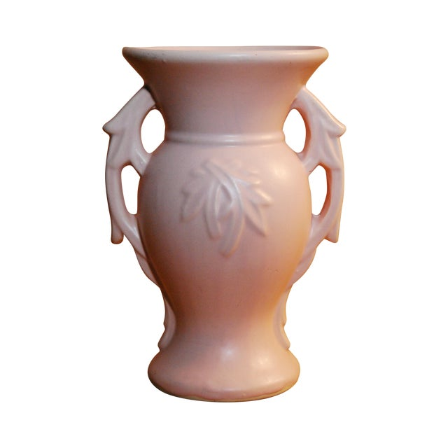Image of 1940's McCoy Peach Pink 2-Handled Pottery Vase