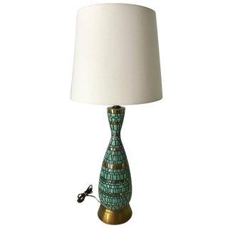 Vintage Mid Century Modern Retro Brutalist Turquoise Lamp