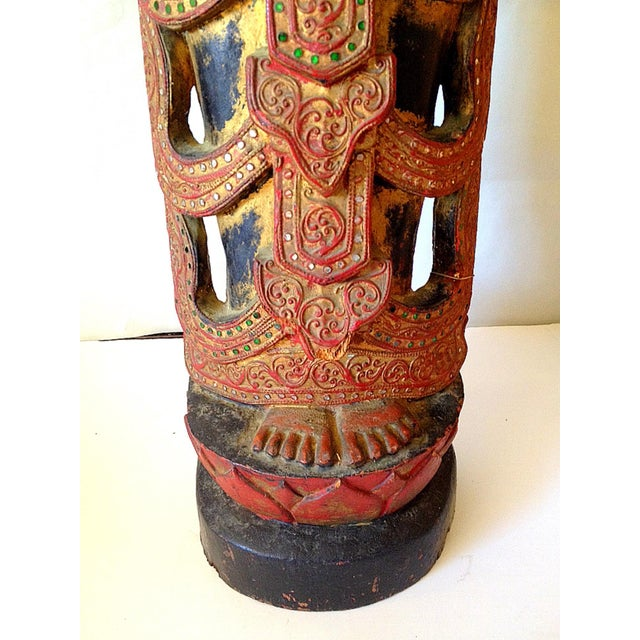 Large Wooden Thai Figure - Image 9 of 10
