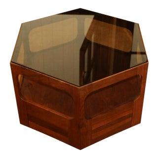 Brown Saltman Hexagonal Smoked Glass Topped Side Table