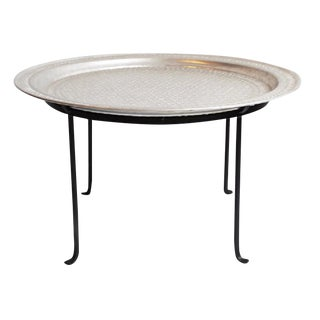 Moroccan Aluminum Round Tray Table